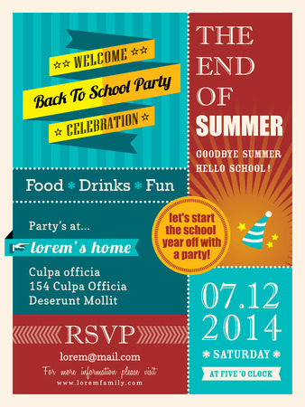 the end: End of summer party poster or card design template layout