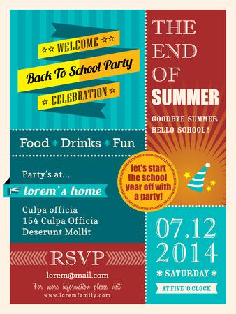the end: Ende der Sommerparty Poster oder Postkarte Design-Vorlage Layout