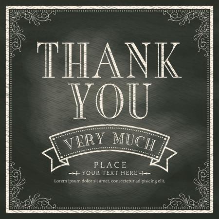 merci: Merci carte avec le fond Ardoise Illustration