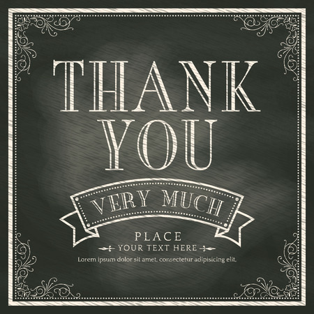 hand lettering: Thank You card with Chalkboard Background