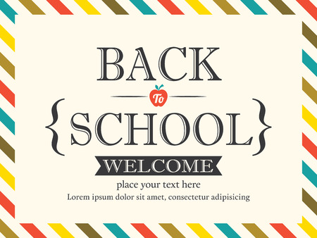 vintage postcard: Back to School postcard background  Illustration