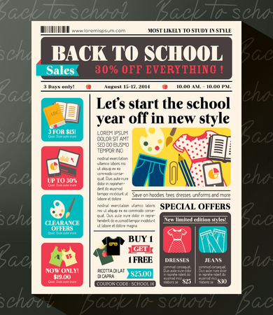 Back to School Sales Promotional Design Template in Newspaper Journal style Illustration