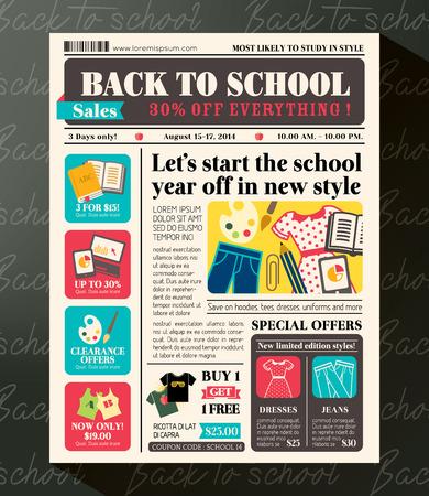 fournitures scolaires: Retour à l'école de vente promotionnel modèle de conception dans le style du journal Journal Illustration