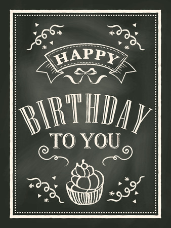 chalkboard Birthday card design background Vector