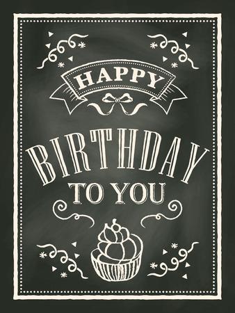 krijtbord Verjaardag kaart ontwerp achtergrond