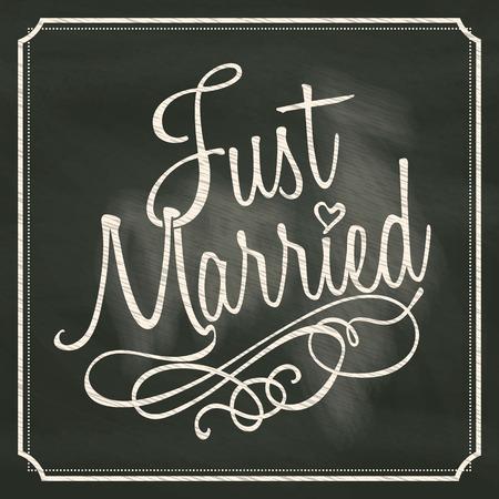 Just Married lettering sign on chalkboard background  Illustration