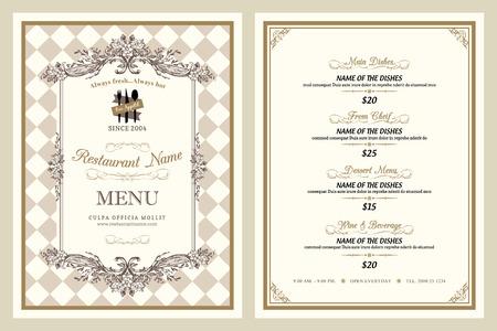 Style vintage conception de menu de restaurant