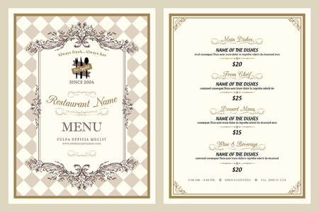 ornament menu: Vintage style restaurant menu design