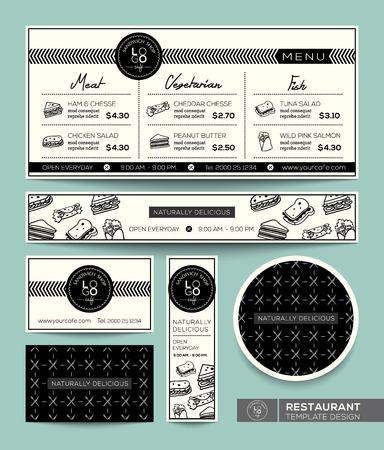 Gráfico restaurante Set Sandwich Menú Plantilla de Diseño Foto de archivo - 30442998