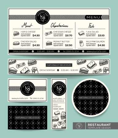 Restaurant Set Menu Sandwich Graphic Design Modèle Banque d'images - 30442998