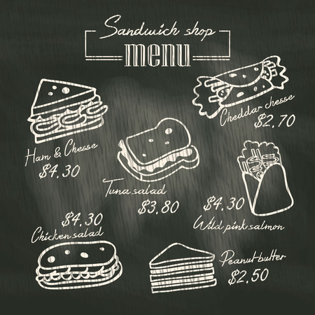 delicatessen: Sandwich doodle menu drawing on chalk board background Illustration