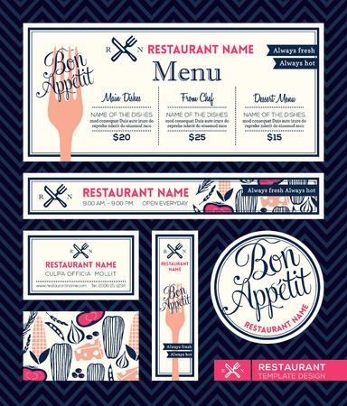 name plates: Bon appetit Restaurant Set Menu Graphic Design Template Illustration