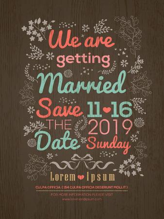 Floral Wedding invitation card design template Illustration