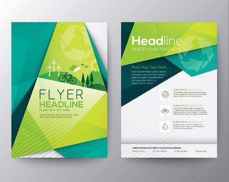gráfico: Molde abstrato do projeto Triângulo Folheto Flyer em tamanho A4