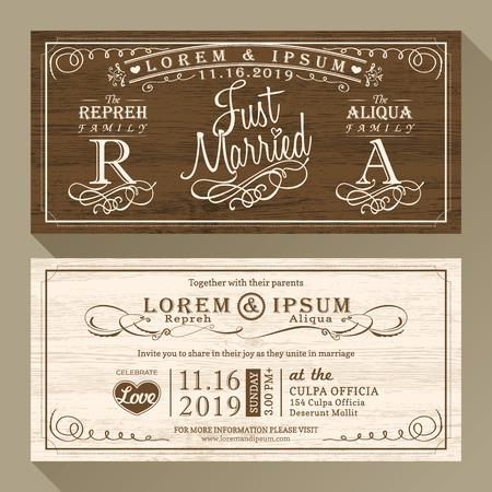 recien casados: Boda Vintage frontera tarjeta de invitación y diseño de la plantilla marco Vectores