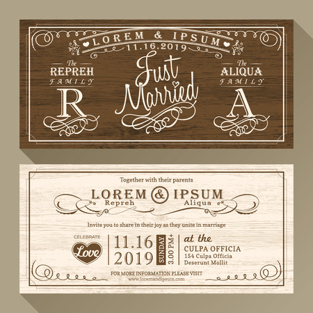 just married: Vintage Wedding invitation card border and frame design template