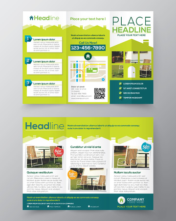 Real Estate Brochure Flyer ontwerp vector sjabloon in A4-formaat Tri fold