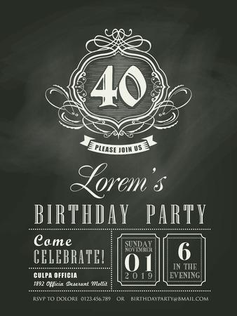 compleanno: Anniversario Scheda dell'invito di compleanno sfondo di lavagna Vettoriali