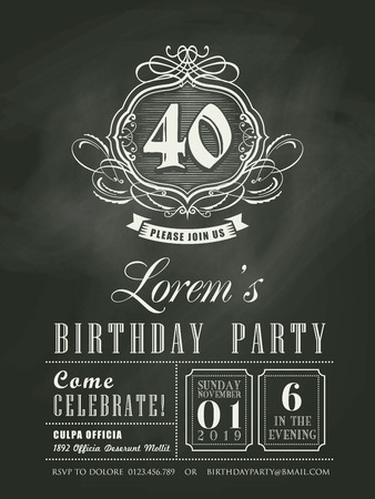 vintage invitation: Anniversary birthday Invitation card chalkboard background
