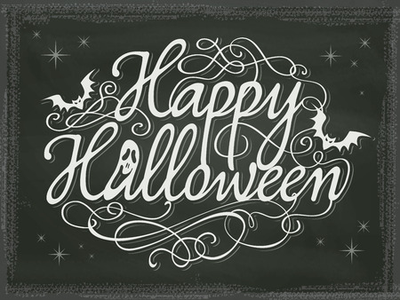 happy halloween: Vintage Halloween background chalkboard