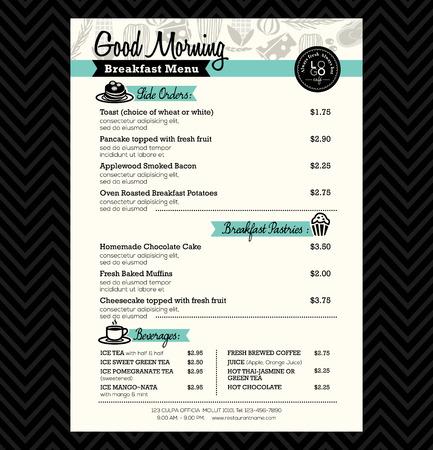 desayuno: Diseño de plantilla de diseño de menú para desayunos Restaurante
