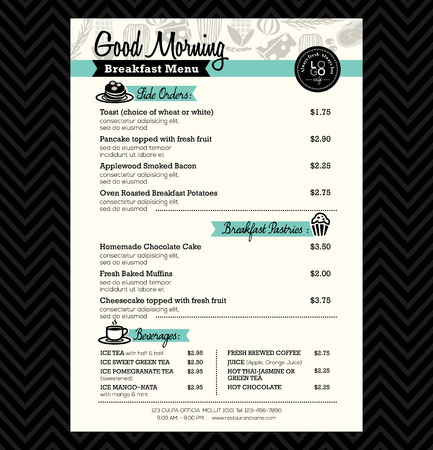 colazione: Ristorante menù colazione progettazione del layout Template Vettoriali