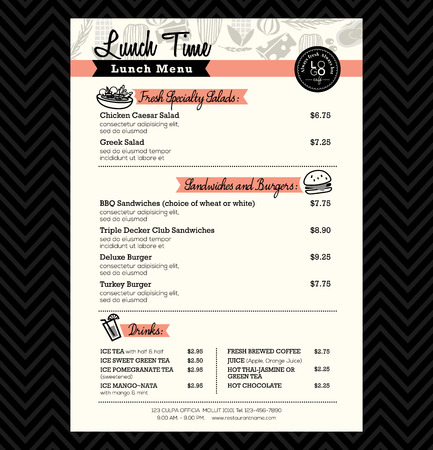Restaurant Lunch menu design Template layout Illustration