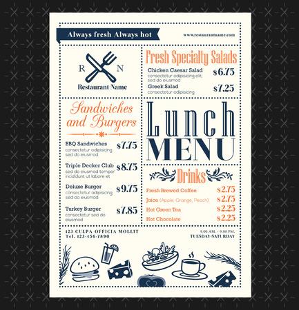 Retro Frame restaurant lunch menu design layout Vector