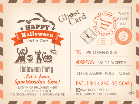 postal card: Happy Halloween Vintage Postcard invitation background design layout