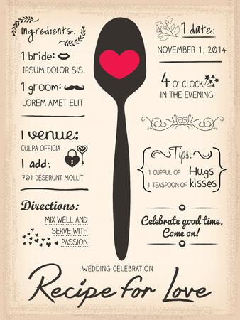 レシピ カード結婚式招待状のデザイン コンセプトを調理