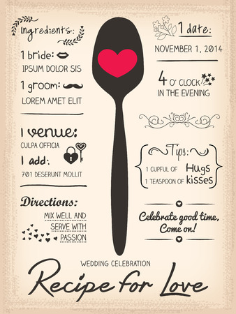 Recipe card Wedding Invitation design cooking concept Zdjęcie Seryjne - 30905205