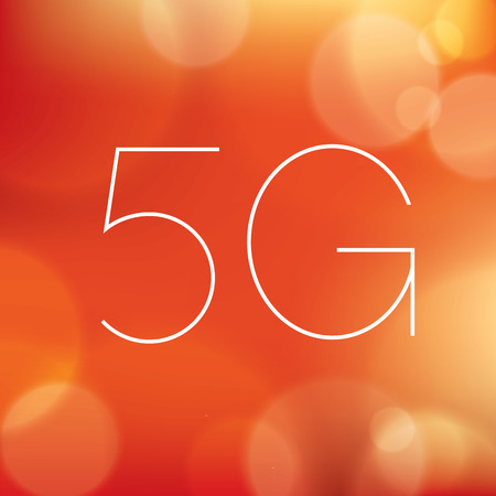5g: Wireless 5G sign icon on blurry red background