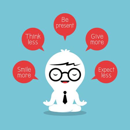 moudrost: podnikatel meditující s pozitivní myšlení koncept Ilustrace