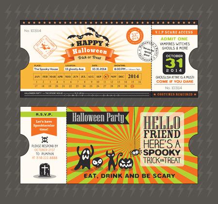 Halloween card in Train Ticket pass style design Vector Template Vector