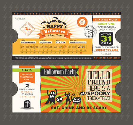 Halloween card in Train Ticket pass style design Vector Template Illustration