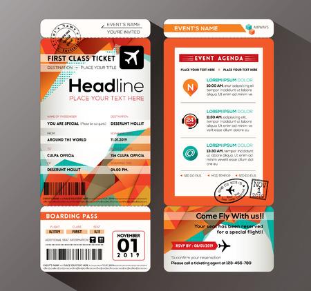 boarding card: Design moderno imbarco Invitation card Passo Ticket Evento vettoriale Modello Vettoriali
