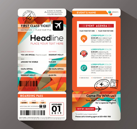 airplane: Modern design Boarding Pass Ticket Event Invitation card vector Template