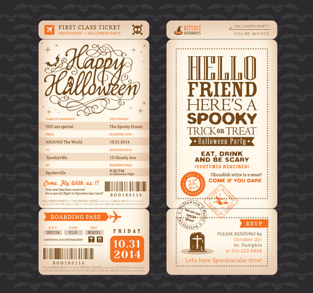 plane tickets: Halloween party Vintage style Boarding Pass Ticket Vector Template