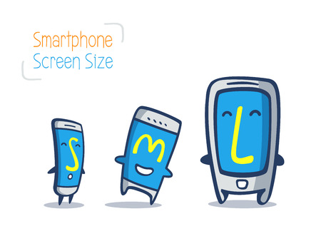 large size: cartoon of smart phone size comparison