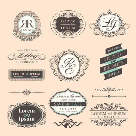 Estilo Vintage símbolo de la boda de fronteras y marcos Ilustración de vector