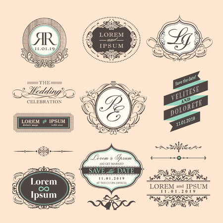 elegant lady: Vintage Style Wedding symbol border and frames Illustration