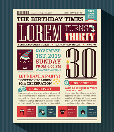 newspaper print: Happy Birthday Party card vector design layout in newspaper style