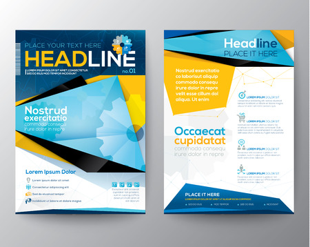 Abstract Triangle design vector template layout for magazine brochure flyer booklet cover annual report in A4 size Çizim