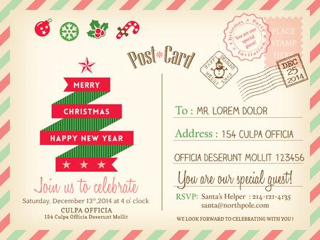 Carte postale de vacances template background vecteur Vintage Joyeux Noël pour la fête carte de voeux