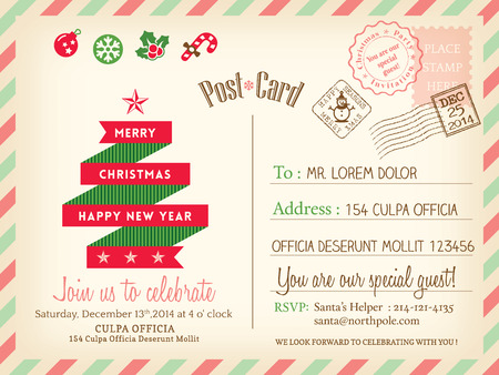 post cards: Vintage Merry Christmas holiday postcard background vector template for party greeting card Illustration