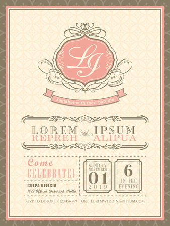 wedding reception decoration: Vintage pastel Wedding Invitation card background template vector illustration