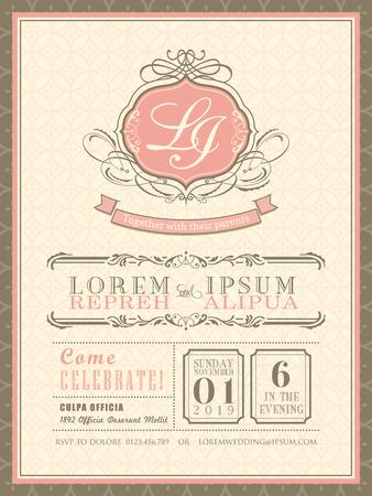 Weinlese-Pastellhochzeits-Einladung Karte Hintergrund Vorlage Vektor-Illustration
