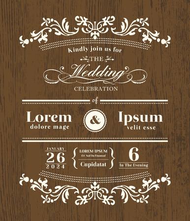 Plantilla de diseño de invitación de boda de tipografía vintage sobre fondo de madera