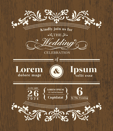 Vintage typography Wedding invitation design template on wooden background Çizim