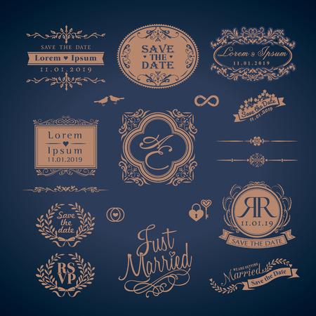 Vintage Stil Düğün Monogram sembol sınır ve çerçeveler